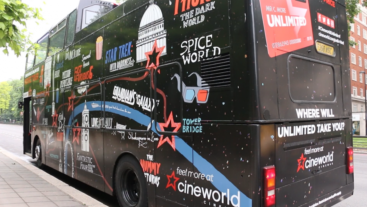 Cineworld celebrates its Unlimited with London movie bus tour | The Drum